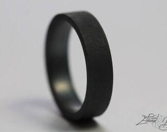 Matte Black Ring, 5mm Flat Band, Matte Band, Oxidized Sterling Silver Ring, Black Silver Ring, Black Sterling Silver Ring, Oxidized Ring