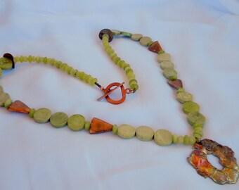 SALE Arizona Copper Pendant, Copper Triangles, Jade,  Yellow Chalcedony, Yellow Stones? Long Necklace