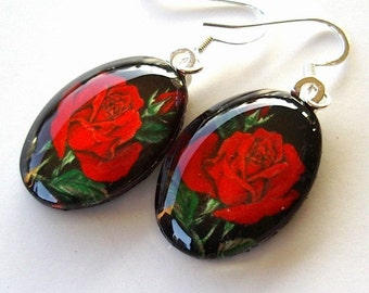 Rose Jewelry earrings Red Rose Oval Art Glass