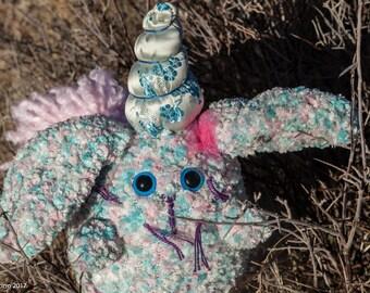 Dust Bunny-Rabbit Plush-Bunny Plush-Bunny Rabbit-Unicorn-Blue-Pink-Stuffed Animal-Handmade