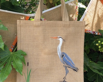 Heron bird hand painted jute bag