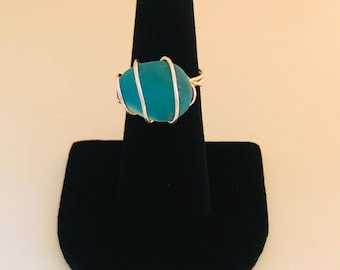 Blue seaglass ring - size 7