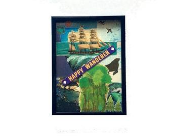 Happy Wanderer Vinyl Record Cover Original Collage Art 5x7 Framed Mixed Media Home Decor Wall Art Recycled Album Artwork Record Art