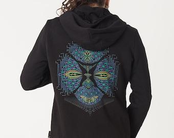 Black Hoodie With Psychedelic Fractal Print, Mens Hoodie, Festival Hoodie By SOL
