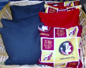 8 PC Set of Corn Hole Game Bags 4 Florida Seminoles and 4 Black Duck Canvas Corn Hole Game Bags