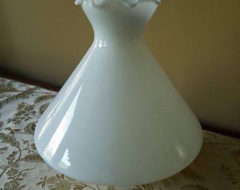 Antique Ruffle Top Milk Glass Shade