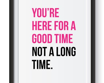 You're here for a good time not a long time Print