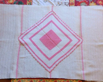 """WHITE & GIRLIE PINK Table Runner and Doily Set 2 pc, Stripes Scalloped Edge Texture 1930 Vintage Handmade 23 x 64 Pretty 13"""" sq doily"""