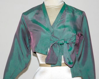 Iridescent Kimono Crop Top +*.*+ Holographic Violet and Teal Wrap