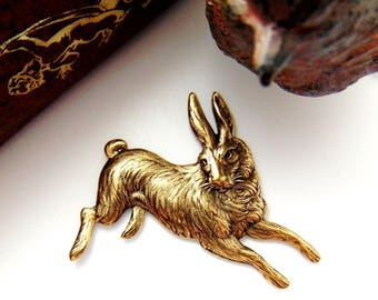 ANTIQUE BRASS Vintage Rabbit Stamping ~ Jewelry Ornament Findings ~ Oxidized Brass Stamping (CA-3035)