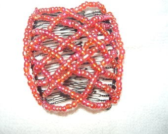 red rainbow color interlocking hair comb