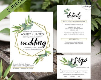 Greenery Wedding Invitation Template, Wedding Invite, Eucalyptus Wedding Invitation, Wedding Template, PDF Instant Download, Edited by you