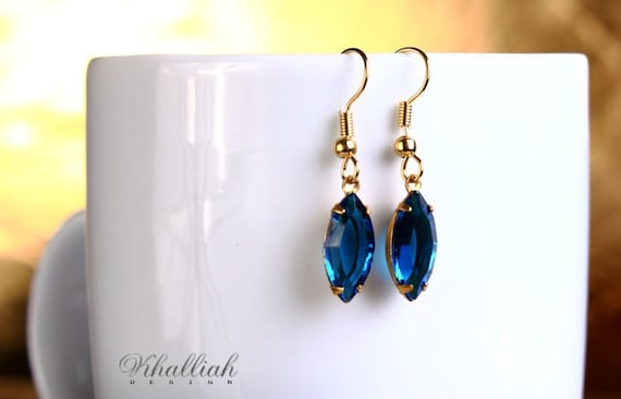 Estate style Capri blue navette glass surgical steel hypoallergenic dangle earrings READY to ship (358)