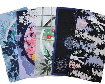 Furoshiki Fabric Set of Five Different Designs Cotton Japanese Fabric 50cm w/Free Insured Shipping