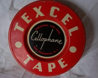Vintage Metal Tin Texcel Celophane Tape