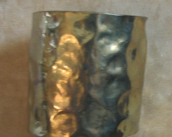 A Hammered Brass Cuff Size Large