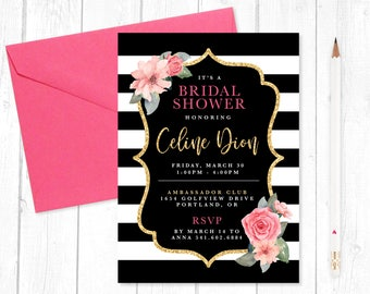 Spade Inspired Bridal Shower Invitation - Digital Download, Printing Options Available