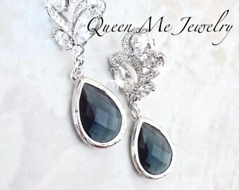 Sapphire Blue wedding earrings Cubic Zirconias Blue Czech glass Something Blue earrings Bridal earrings Brides bridesmaids wedding earrings