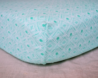 Fitted Crib Sheet - Mint Green Geometric Diamonds - Gender Neutral Crib Sheet - Baby Girl Nursery Bedding- Baby Boy Crib Bedding
