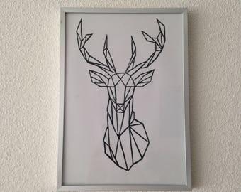 Lino print deer