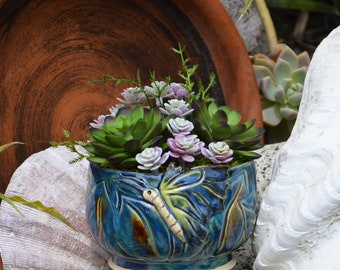 Butterfly Succulent Arrangement Pottery / Pottery, Artificial, Faux, Ceramic, Planter, Succulent Table Decor, Succulent Gift, Succulent Pots
