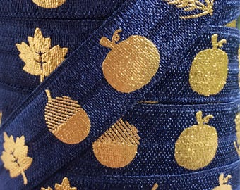 """Navy Blue with Gold Fall Harvest Pattern on 5/8"""" Fold Over Elastic 5 Yards"""
