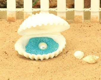 Oyster Shell and Pearl, Sea Shell, Beach Themed Miniature Garden Accessory, Hand Crafted Fairy Garden Miniatures by Jennifer, Fairy Garden