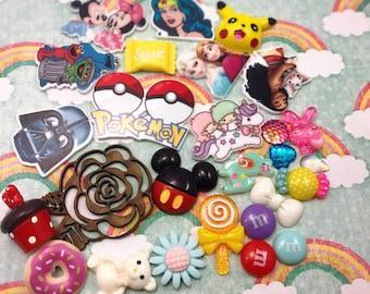 Bow Ribbon Center Resin Cabochon Destash Supplies Supply Flatback Random Mix Disney Candy Nerd Geek Cute Decoden