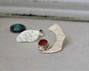 Sterling silver Earrings with Fire opal Gemstone - Pair of asymmetrical earrings Gemstone 925 Orange