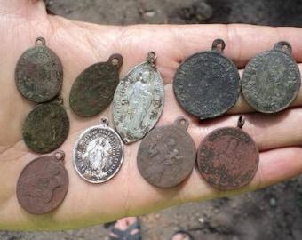 10 pieces An antique amulet. Ancient ornaments. Icon pendant. Medallion, pendant, saints, ancient amulets. 17-18 century.