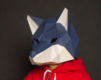 Wolf Mask, Wolf Head, papercraft,DIY New Year Mask, 3D Polygon Masks, Printable Mask,Halloween Mask