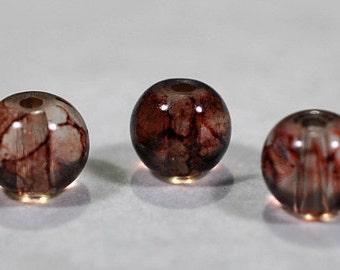 Brown swirl glass beads, 7mm, #674
