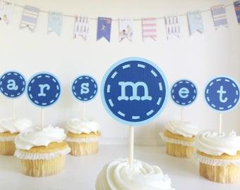 cupcake monogram initial letter cupcake toppers alphabet boy blue birthday party baby shower desert set of 12 - 1 dozen lowercase