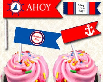 Ahoy Its A Boy Cupcake Flags / Straw Toppers, Buffet Food Flags, Ahoy Baby Shower Decorations Instant Download Printable