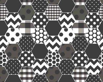 Black & White Hexagon Fabric, Riley Blake C770-110 Hexi, Black Hexagon Quilt Fabric, Cotton