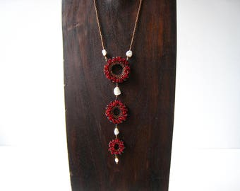 Red Three Circle Necklace with Genuine Keshi Freshwater Pearls / /Stitched by hand / / Crimson Sunrise