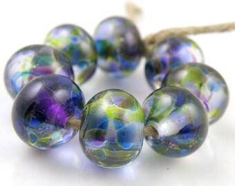 Amazonia Swirls Made to Order SRA Lampwork Handmade Artisan Glass Donut/Round Beads Set of 8 8x12mm