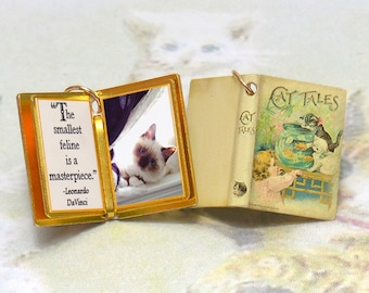 Cat Tales for the cat lover - Miniature Book Shaped Charm Quote Pendant- for charm bracelet or necklace. Custom available!