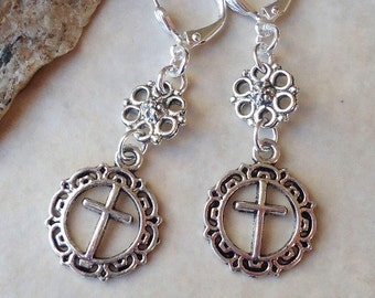 Cross Dangle Earrings.Metal Earrings.Charm.Drop.Long Earrings.Statement.Bridal.Religious.Spiritual.Confirmation.Christian.Gift.Handmade.