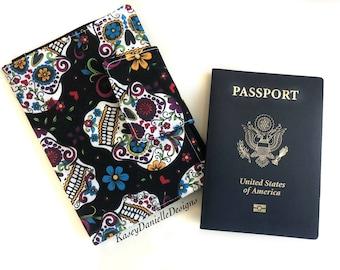 Passport Wallet / Sugar Skull Passport Cover / Passport Holder / Travel Wallet / Passport Case / Handmade / International / Unique Gift Idea