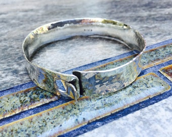 Women's Sterling Silver Artisan Hammered Cuff Bracelet, Handcrafted Hand Forged Sterling Cuff