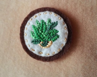 Houseplant: Fern in Peach Planter (Patch, Pin, Brooch, or Magnet)