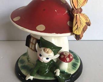 Vintage Mushroom With Pixie Elf Money Piggy Bank