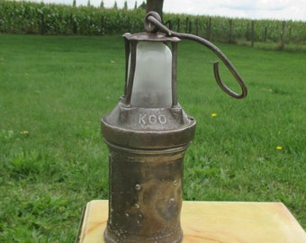 Antique authentic Miner Davy Safety Lamp Iron KGO
