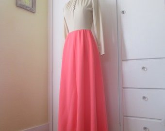 SALE Gorgeous Pink Dress, Pink and Tan Colorblock Floor Length Dress, Turtleneck Dress, Long Sleeve Dress, Modest Dress, Size M L Medium