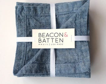 Cocktail Napkins Set of 4 : Chambray