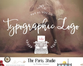 Typographic Logo Design Text Logo Website Logo Blog Logo Watercolor Vintage Hand Writing Logo Script Text Overlay Pay As You Go Logo