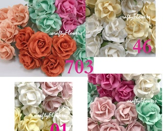 25  Mized Color Paper Flowers for Baskets Scrapbooks Wedding Faux Cupcake Cards Dolls Crafts Roses Variations Listing of R77