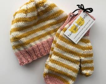 Beanie & Flip-Top Mittens Set in Pink, Cream, and Mustard Stripe