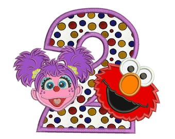 Abby and Elmo 2nd Birthday Applique Design 3 sizes instant download